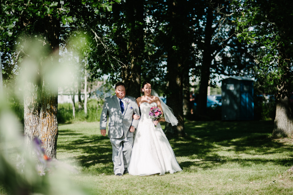 Bride and Father Walking - Bride and Bridesmaids  - Warba, Minnesota Wedding